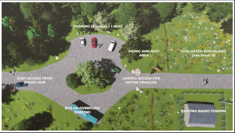 Luke Early's design for the Irwin Lane trailhead plan in Girty's Woods.