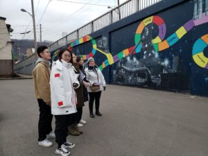 Students visit a site in Hazelwood