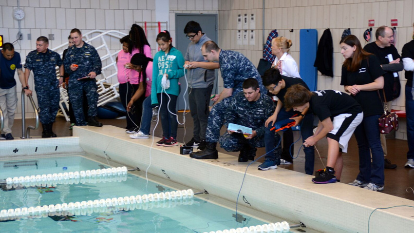Students competing in the SeaPerch 2017 underwater robotics competition