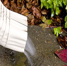 Water pouring from a downspout