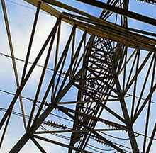 Close-up of a transmission tower